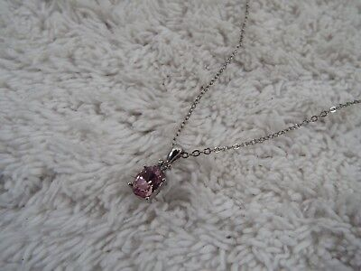 Silvertone Pink Crystal Pendant Necklace (D46)