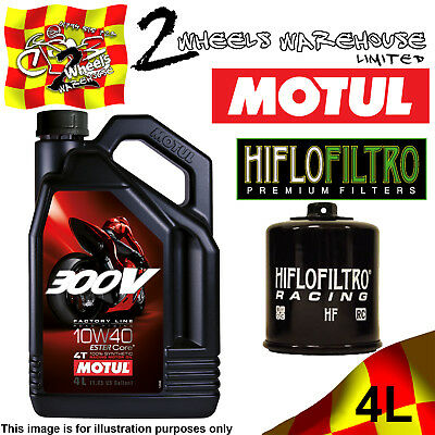 4L Motul 300V 10W40 Oil And Hiflo Hf160Rc Filter To Fit Motor Cycle Bike Listed