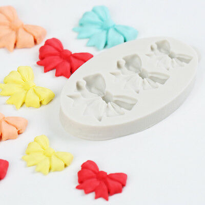 3 Bow Ribbon Flower Silicone Mould Fondant Icing Cake Cupcake Topper Decor Mold