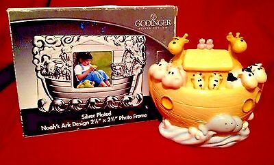 GODINGER SilverPlated NOAH'S ARK Photo Frame NIB plus Noah's ark bank! Nursery