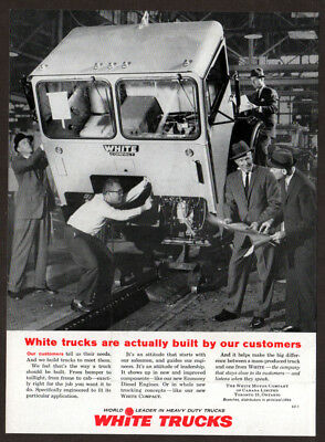 1962 WHITE Compact Truck Vintage Original Print AD - Built by our customers