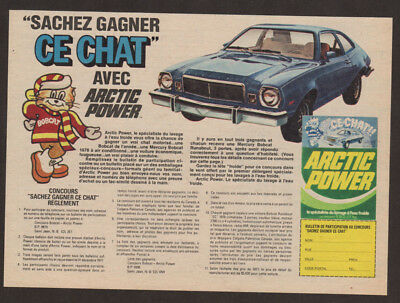 1977 MERCURY Bobcat Vintage Original Print AD Artic Power contest  win blue car