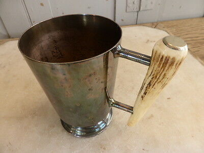 Antique silver plated tankard with antler handle, engraved 30.3.64