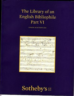 Sotheby's The Library of an English Bibliophile Part VI London October 20 2016