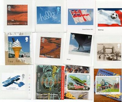 12 Commemorative stamps from self adhesive booklets, 1st class x 12 stamps
