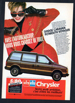 1986 DODGE Caravan PLYMOUTH Voyager Vintage Original Print AD - Woodie car photo