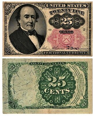1874-76 25 CENT US Fractional Currency 5th Issue ROBERT WALKER  Fr#1308  XF+