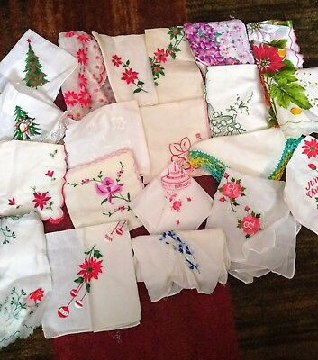 Lot of 20 Vintage Ladies Handkerchiefs including a lot of Christmas Ones