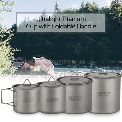 Lixada 650ml Titanium Coffee Mug Outdoor Camping Water Cup with Handle Hot P8V8