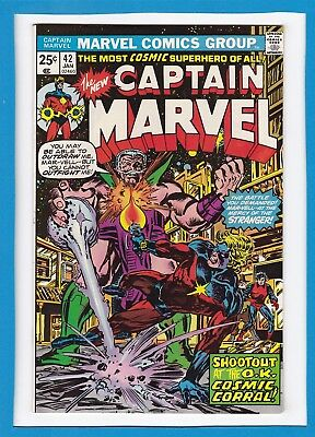 """Captain Marvel #42_Jan 1976_Vf_""""shoot-Out At The Ok Cosmic Corral""""_Bronze Age!"""