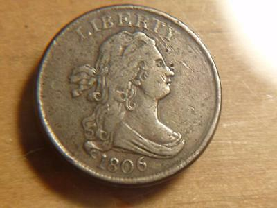1806 Small 6 Without Stems Draped Bust Half Cent VF Condition..SKU#12534