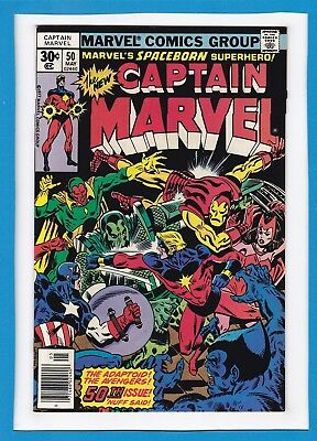 CAPTAIN MARVEL #50_MAY 1977_VERY FINE+_THE AVENGERS_THE ADAPTOID_50th ISSUE!