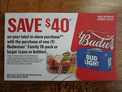 $40.00 Budweiser Family Beer Rebate Form -- 6 States -- Exp. 12-31-17