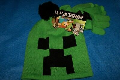 One Size Child Boys Minecraft  Hat & Glove Set