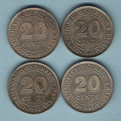 Malaya. 20 Cents : 1943 x1 & 1945 x3 . All with Lustre.. gVF/EF - gEF  (4 Coins)