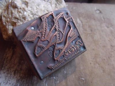 Antique Wood & Copper Printing Block Mens Shoes Peters Diamond Brand St Louis