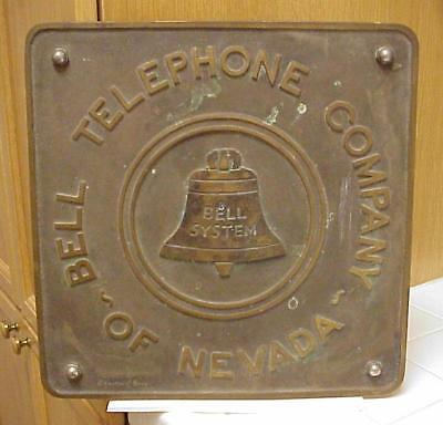BELL TELEPHONE COMPANY OF NEVADA Embossed Brass Sign Plaque *RARE*