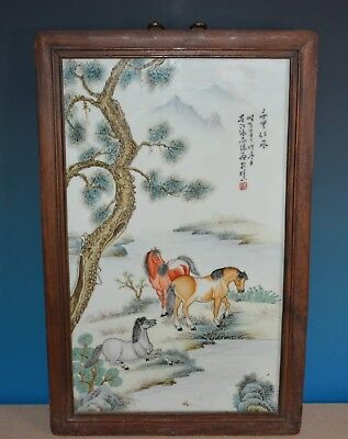 Fine Large Chinese Famille Rose Porcelain Plaque Marked Master Zhang Zhitang N89
