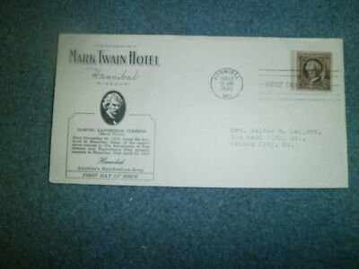 Extreme Advertising Cover:  1940 Mark Twain Hotel, Hannibal, Mo On Fdc
