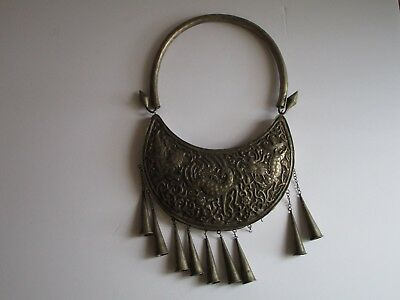 Antique Sterling Silver Sculpture Necklace South East Asia? Folk Art Dragon Old