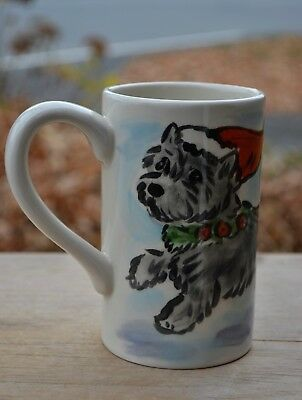 Cairn Terrier. Christmas. Handpainted ceramic mug.OOAK