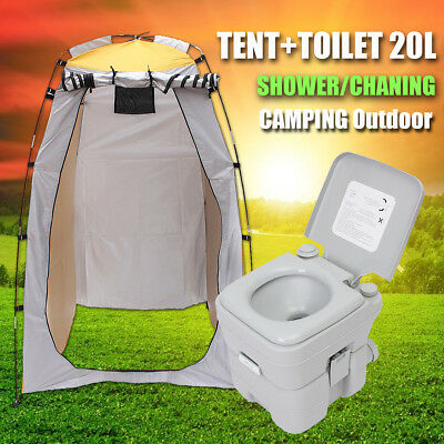 5Gallon 20L Outdoor Portable Toilet Potty Seat Camping + Shower Tent Change Room
