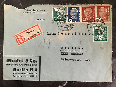 1952 Berlin East Germany DDR Cover Local Use Riedel Company
