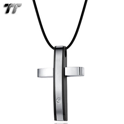 Quality TT Black/Silver Stainless Steel Cross Pendant Necklace (NP317) NEW