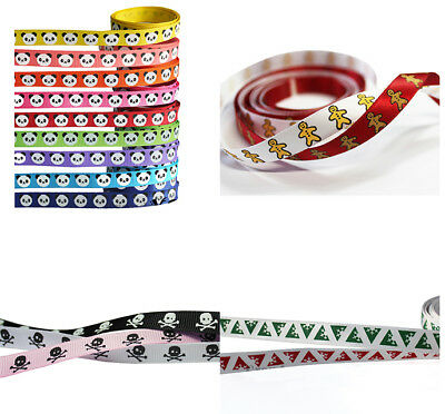 "2/10/50 yards 3/8"" 9mm Mixed Colors Christmas Ribbon Craft Gift Packing Sewing"