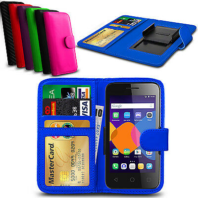 Clip On PU Leather Flip Wallet Book Case Cover For alcatel Pop D5