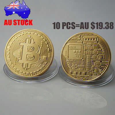 10 x Gold BTC Coin Plated Bitcoin Coin Collectible Gift Art Collection Physical