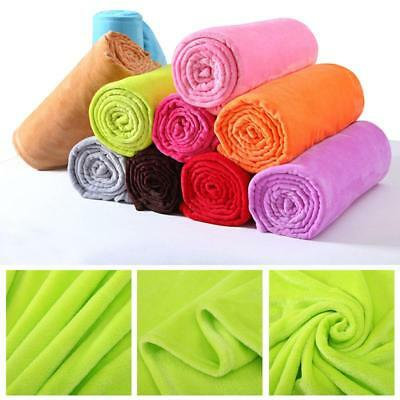Super Soft Solid Warm Micro Plush Fleece Blanket Throw Rug Sofa Bedding New