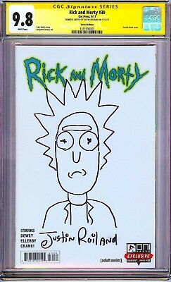 RICK AND MORTY #30 VARIANT CGC 9.8 SS Signed & 1 Sketch by Justin Roiland!!
