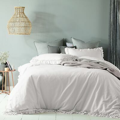 Maison White Ruffled Quilt Cover Set - SINGLE DOUBLE QUEEN KING Super King