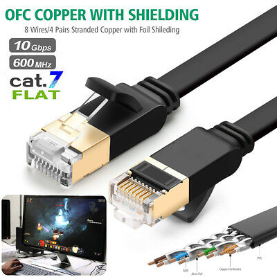 2M RJ45 Network CAT7 Ethernet 10Gbps UltraThin High Speed Gold Plated Flat Cable