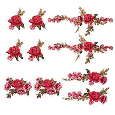 10 Stk Rose Blume Stickerei Aufnäher Applikation Rose Blumen Nähen Patches FA273