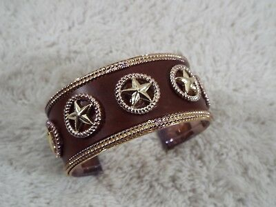 Texas Star Studded Faux Leather Cuff Bracelet (D46)