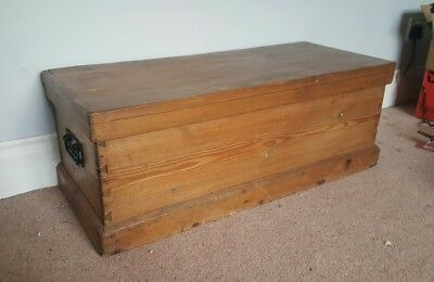 antique pine blanket/tool box ottoman small map lined with handles