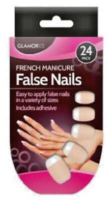 24 Pack French Polish Manicure Natural False Nails & Glue