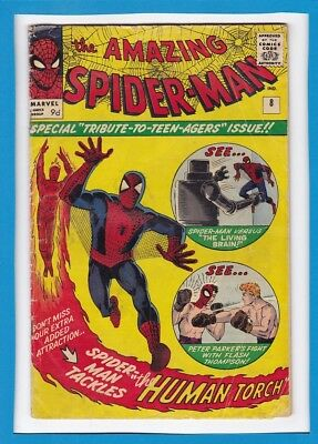 Amazing Spider-Man #8_January 1964_Very Good Minus_Human Torch_Steve Ditko_Uk!