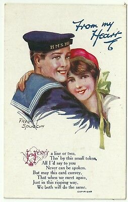 Art postcard Artist Fred Spurgin glamour WW1 patriotic Sailor & young woman