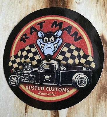 "V8 US Car Oldschool Sticker  "" RAT MAN ""  Aufkleber - Hotrod & Ratrod"