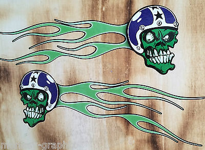 2er Oldschool Aufkleber Skull Racer Flames Retro Sticker US Muscle Car Hotrod
