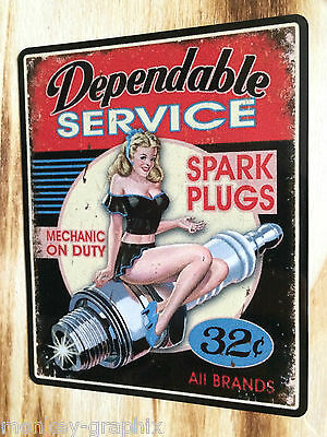 """Oldschool Aufkleber """" Spark Plugs """" Pin up US Car Sticker / V8 Muscle Car USA"""