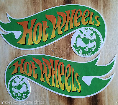 "2 x Oldschool Sticker "" Hotwheels Skull "" Muscle V8 green / Motocross Aufkleber"