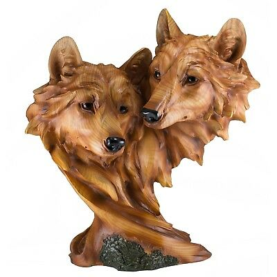 """Wolf Head Bust With 2 Wolves Faux Carved Wood Look Figurine 12"""" High Resin New!"""
