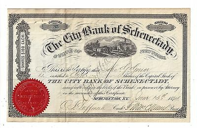 Stk-City Bank of Schenectary NY 1874 #46 Bank Lasted 10 years.  Nice vignette