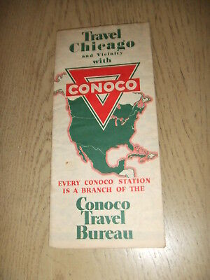 VINTAGE 1941 Conoco Oil Gas Chicago City Street Guide Road Map Hammond Gary IL