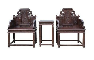 Chinese Huali Brown Rosewood Carved Armchair Set cs3492