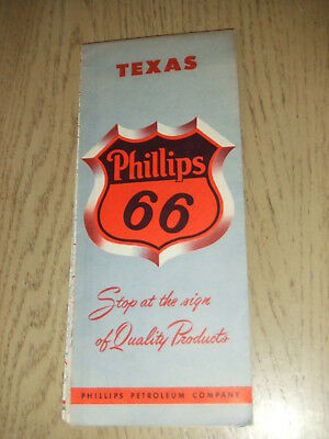 VINTAGE 1952 Phillips 66 Oil Gas Texas State Highway Road Map Houston Dallas TX